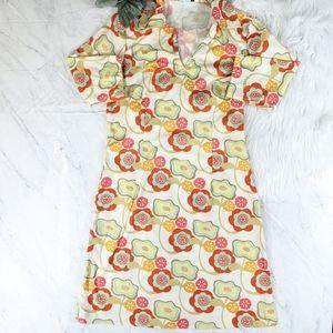 J. McLaughlin Floral Mod Retro Cream Harbor Dress